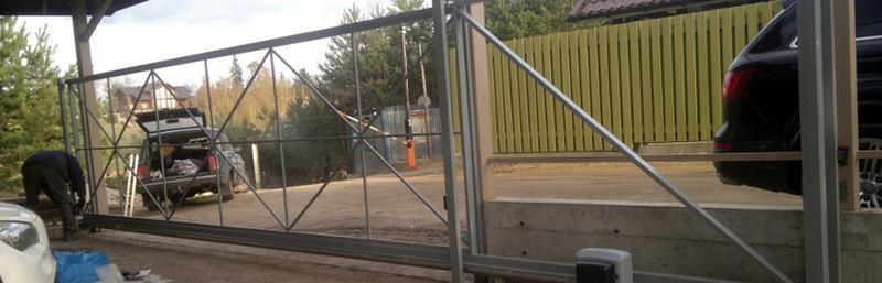 Автоматические откатные ворота фото