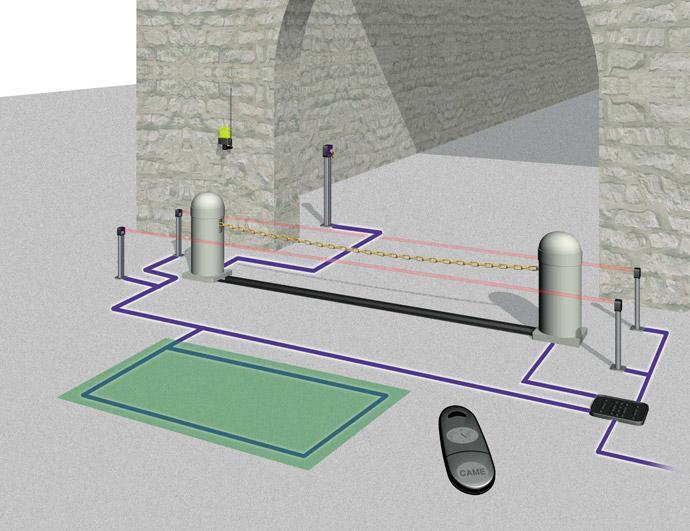 Ланцюгово-бар'єрний шлагбаум. Схема