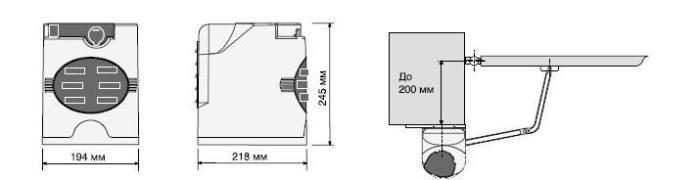 Схема важільного приводу автоматики двохстулкових воріт серії FAST