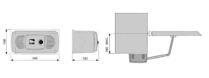 Схема важільного приводу двохстулкових воріт серії FERNI