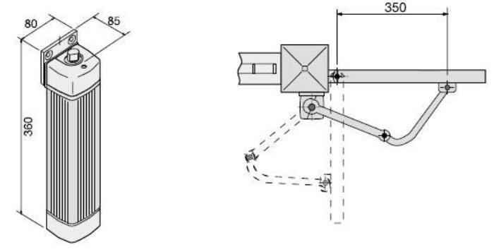 Схема важільного приводу воріт серії FLEX