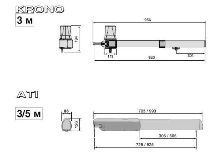 Схема лінійного важільного приводу двохстулкових воріт серії ATI та KRONO